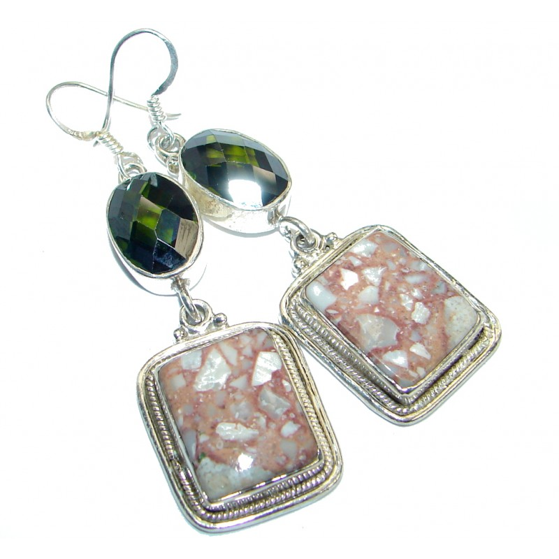 Amazing Rosetta Picture Jasper Sterling Silver earrings