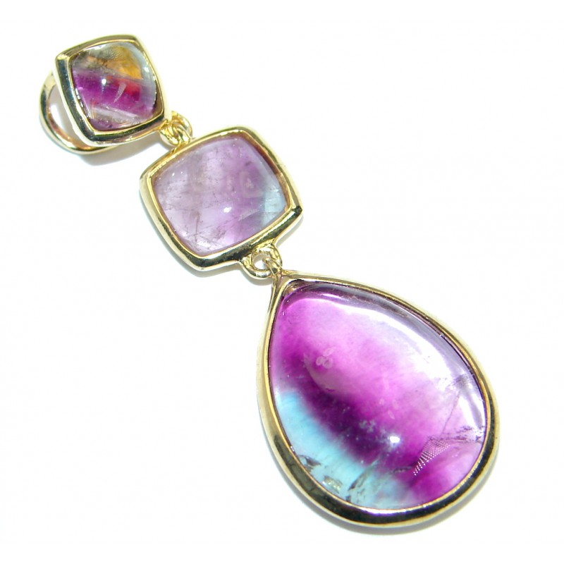 Secret Purple Fluorite Gold plated over .925 Sterling Silver handcrafted Pendant