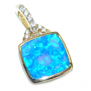 Precious Japanese Fire Opal Gold plated over .925 Sterling Silver handmade Pendant