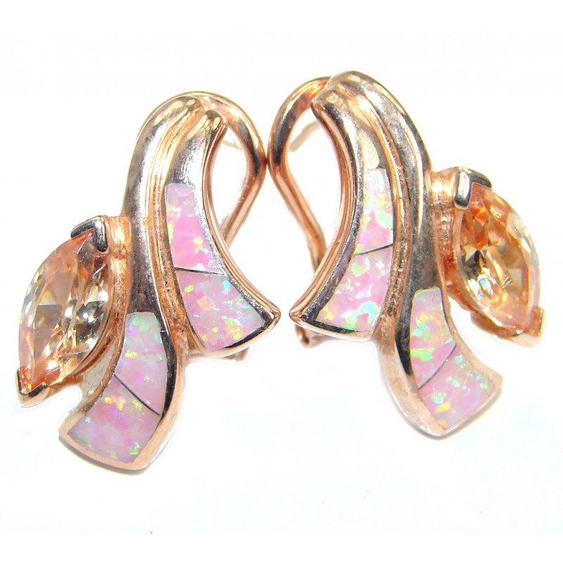 Luxury Lab. Peach Japanese Fire Opal lab. Morganite .925 Sterling Silver handmade earrings
