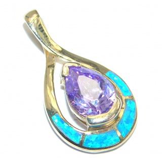 Fancy Style lab. Blue Opal Cubic Zirconia Gold plated over .925 Sterling Silver Pendant