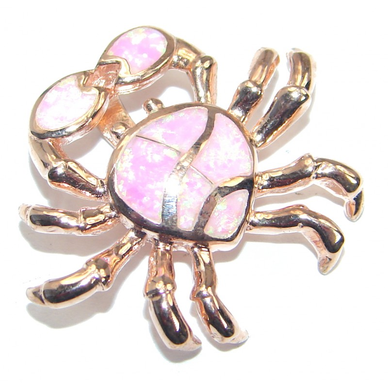 Golden Crab Japanese Fire Opal Rose Gold plated over .925 Sterling Silver handmade Pendant