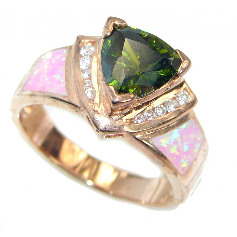 Fancy Cubic Zirconia Gold plated over .925 Sterling Silver Cocktail ring s. 8