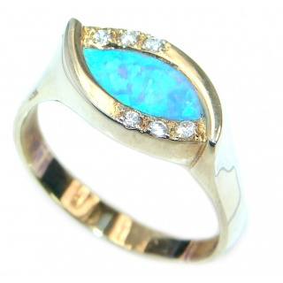 Ultra Fancy Cubic Zirconia Gold plated over .925 Sterling Silver Cocktail ring s. 10