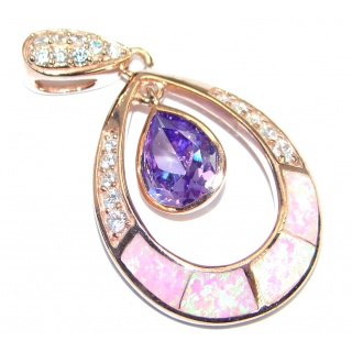 Fancy Style lab. Pink Opal Cubic Zirconia Gold plated over .925 Sterling Silver Pendant