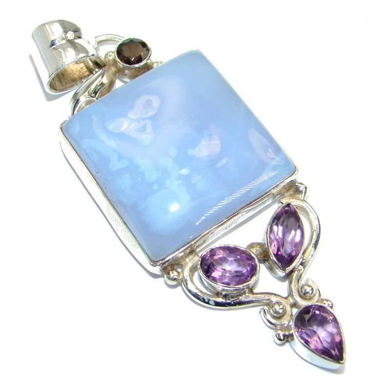Blue Aura Chalcedony Agate Sterling Silver handmade Pendant