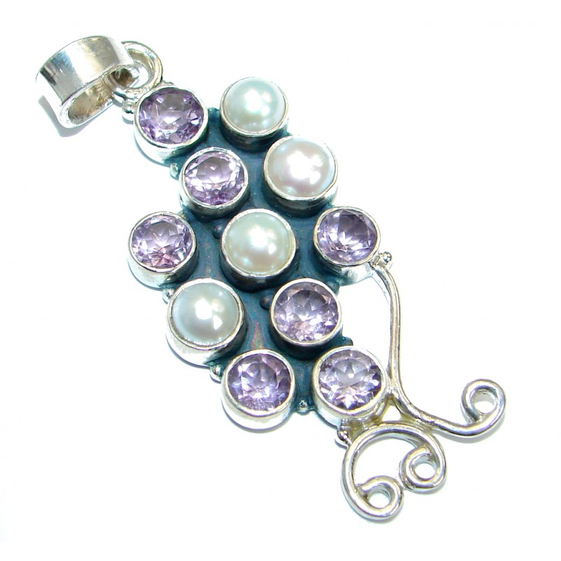 Oriental Design Pearl Sterling Silver handcrafted pendant