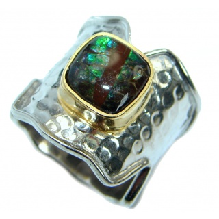 Natural Green Fire Ammolite hammered Two Tones .925 Sterling Silver ring s. 10