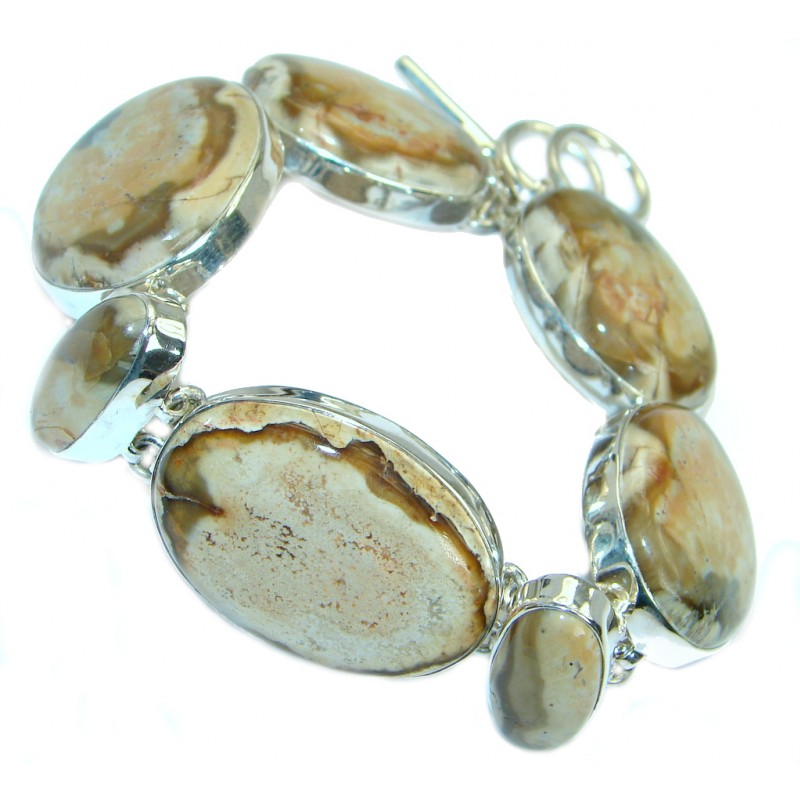 Classic Beauty Natural Pietriefied Wood .925 Sterling Silver handcrafted Bracelet