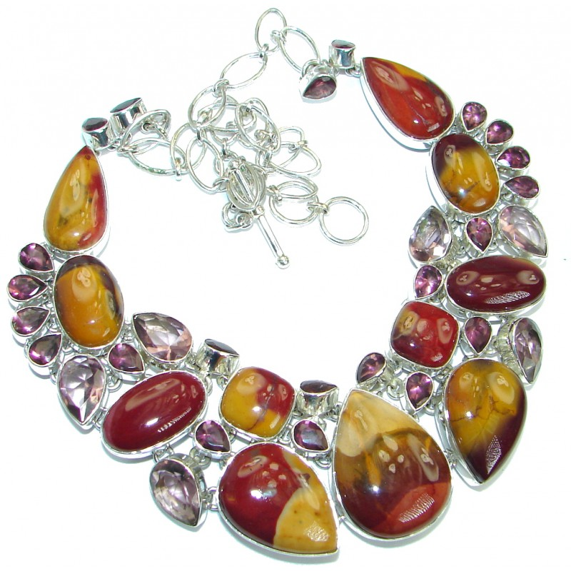Stunning Beauty Australian Mookaite .925 Sterling Silver artisan handcrafted necklace