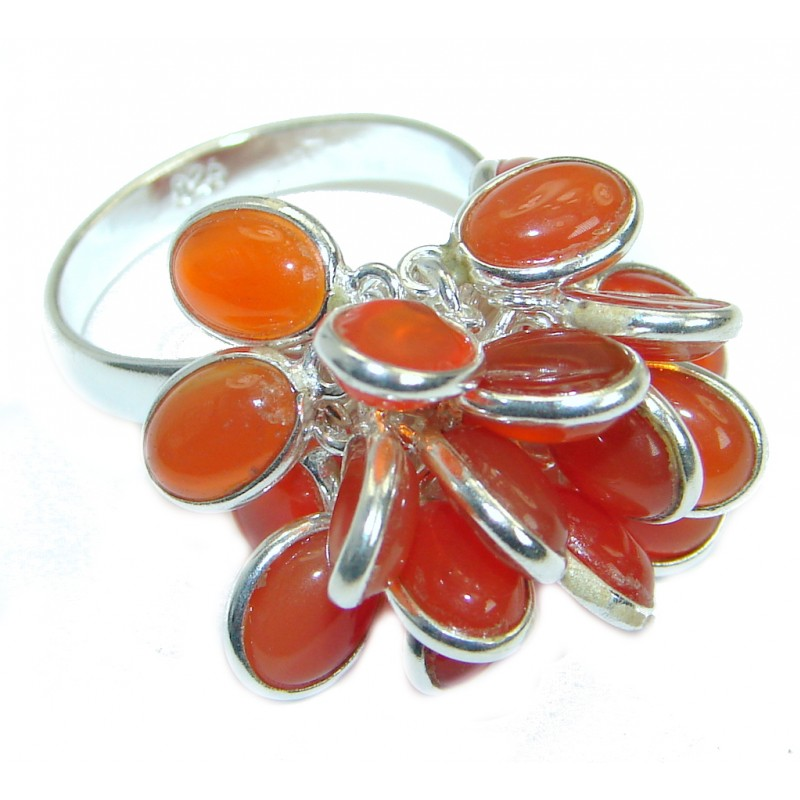 Amazing Genuine Carnelian Sterling Silver Ring 7 adjustable