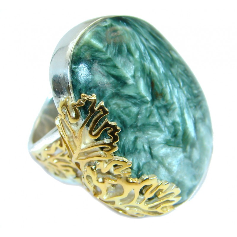 Great quality Green Russian Seraphinite Two Tones .925 Sterling Silver Ring size 7 adjustable