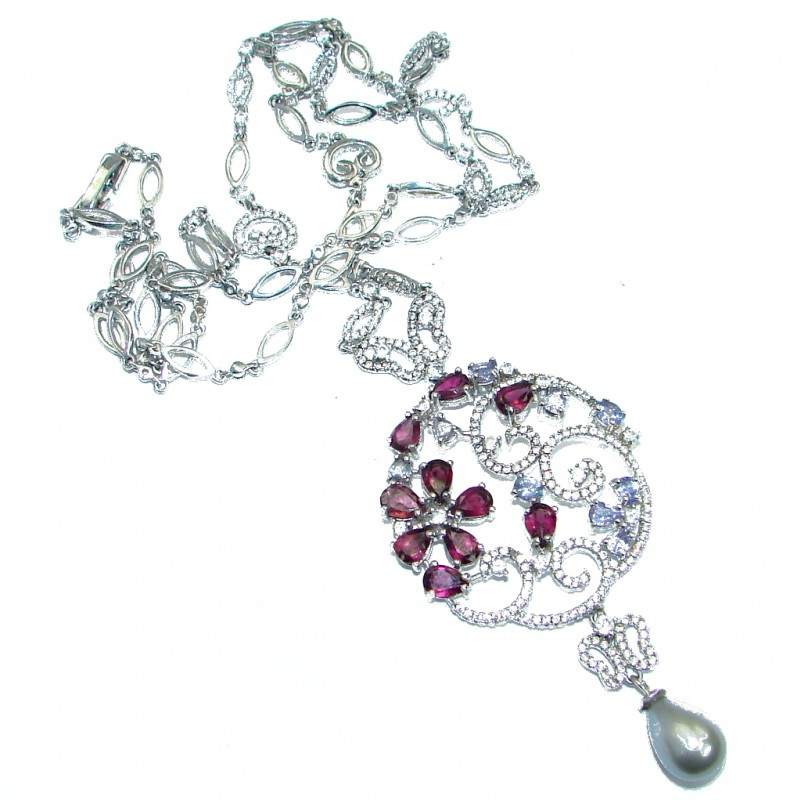 Great genuine Garnet Tanzanite .925 Sterling Silver handmade 24 inches long Necklace