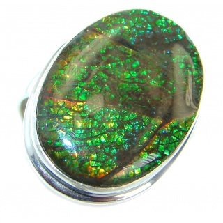 Pure Energy Fire Genuine Canadian Ammolite .925 Sterling Silver handmade ring size 8 adjustable