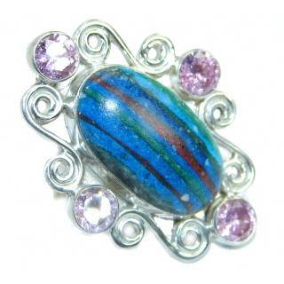 Blue Rainbow Calsilica .925 Sterling Silver handcrafted ring size 10 1/4