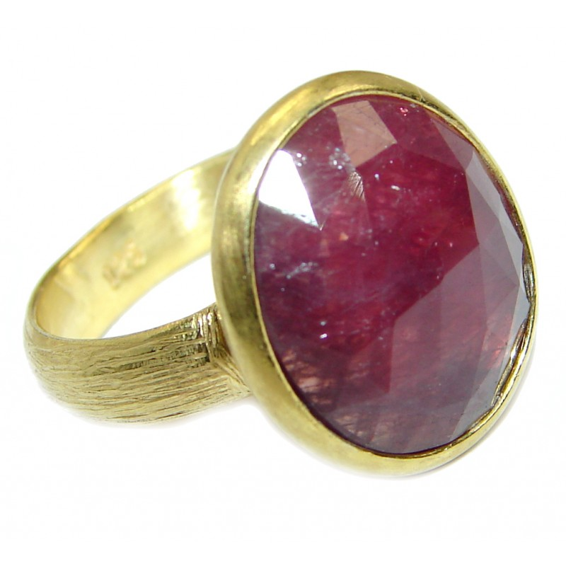 Fine Art jewelry Natural Ruby Gold over .925 Sterling Silver Ring Size 8 adjustable