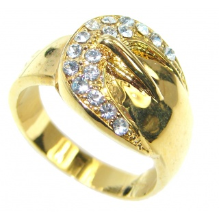 Belt Fancy Cubic Zirconia Gold plated over .925 Sterling Silver Cocktail ring s. 7 1/4