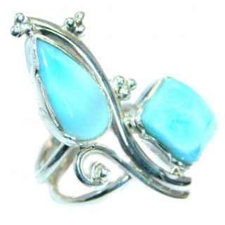 Genuine Larimar .925 Sterling Silver Ring s. 6 3/4