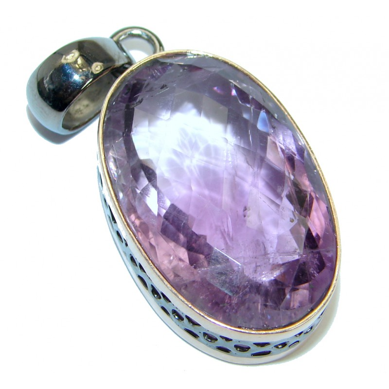 Great Silverwork Amethyst Rose Gold plated over .925 Sterling Silver handmade Pendant