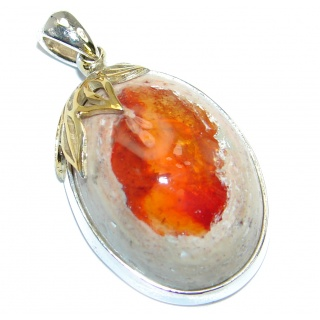 One of the kind Orange Mexican Fire Opal .925 Sterling Silver handmade Pendant