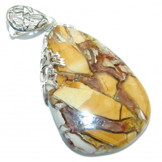 Genuine Australian Brecciated Mookaite Two Tones .925 Sterling Silver handcrafted Pendant