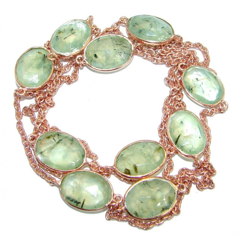 36 inches genuine Moss Prehnite Rose Gold plated over .925 Sterling Silver handmade Necklace