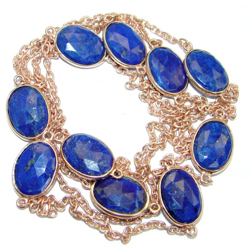 36 inches genuine Lapis Lazuli Rose Gold plated over .925 Sterling Silver Necklace