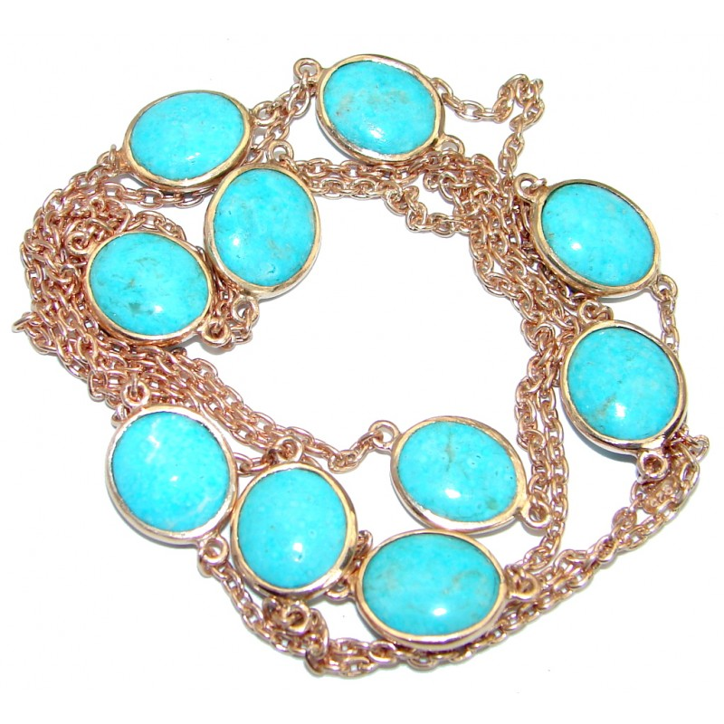 36 inches Genuine Arizona Turquoise Stones Rose Gold plated over .925 Sterling Silver handmade Necklace