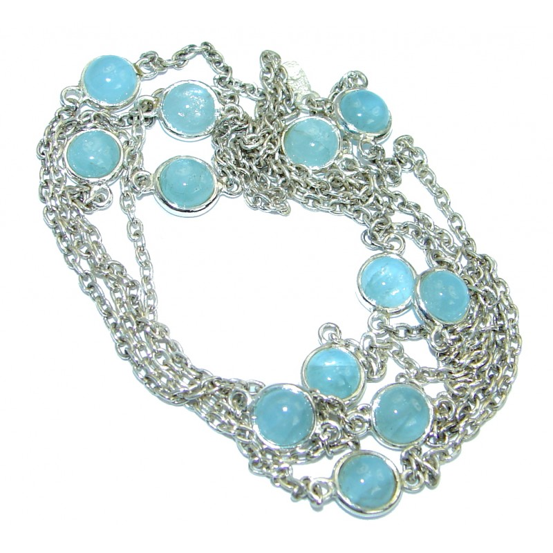 36 inches genuine Aquamarine .925 Sterling Silver handmade Necklace