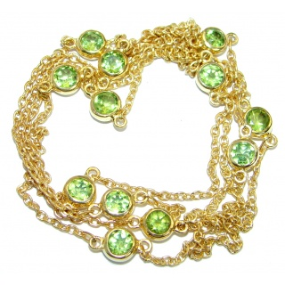 36 inches genuine Peridot Gold plated over .925 Sterling Silver handmade Necklace