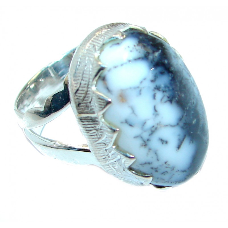 Great Dendritic Agate Sterling Silver hancrafted Ring s. 6