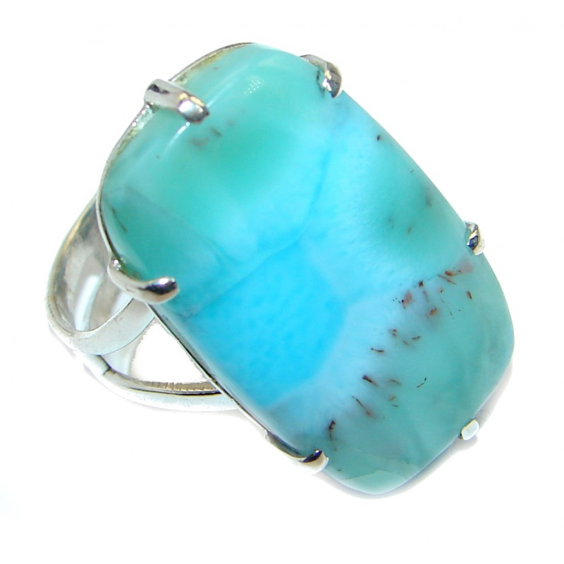 Stylish Design genuine Larimar .925 Sterling Silver handmade Ring s. 8 1/2