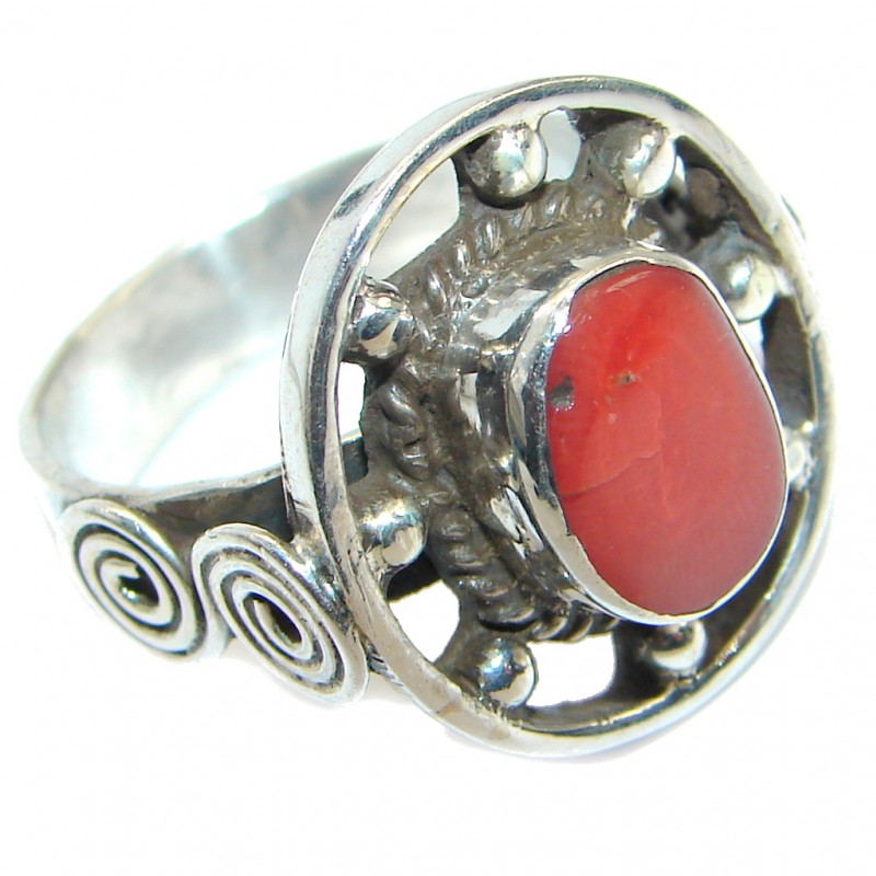 Gorgeous natural Fossilized Coral Sterling Silver handmade ring s. 9