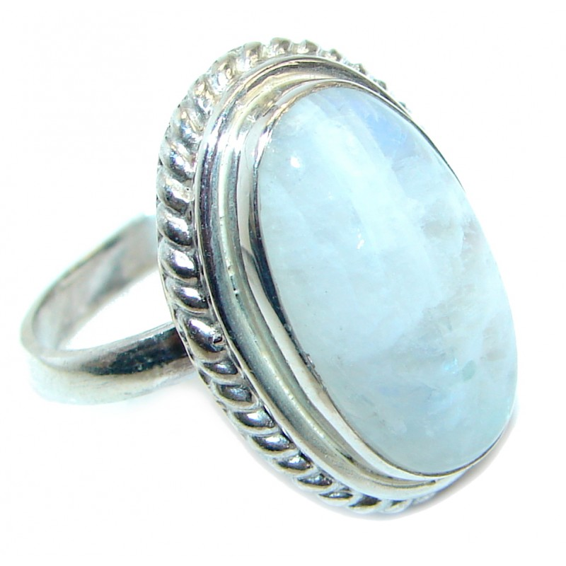 Simle Style Perfect Moonstone .925 Sterling Silver handmade Ring s. 7 1/4