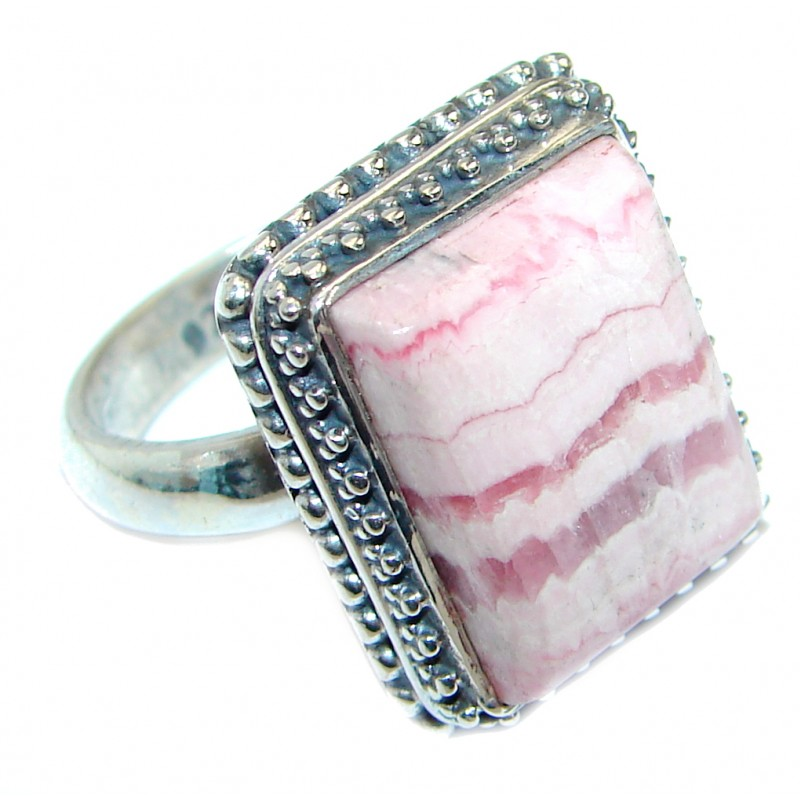 Exotic Rhodochrosite Sterling Silver Ring s. 6 1/4