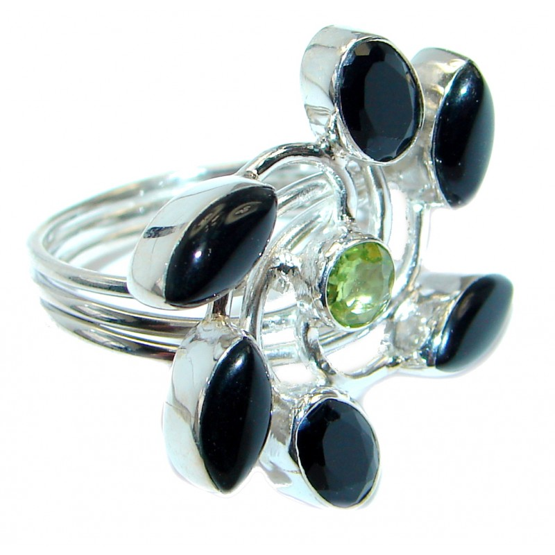 Exotic onyx Sterling Silver Ring s. 8