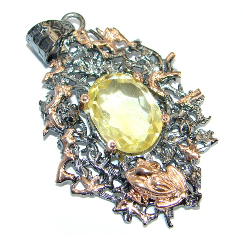 Golden Pound Genuine Citrine Rose gold over .925 Sterling Silver handcrafted pendant