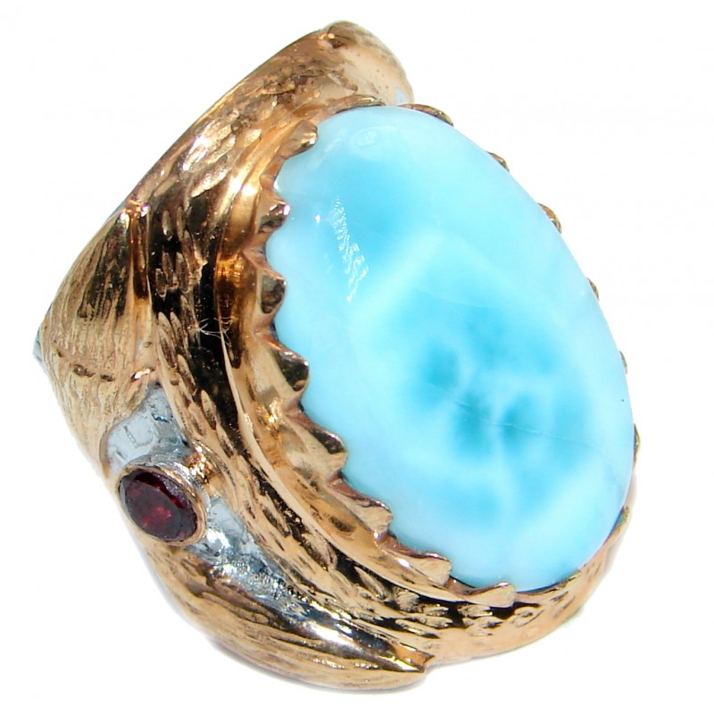 Large genuine Larimar Gold plated over .925 Sterling Silver Ring s. 7