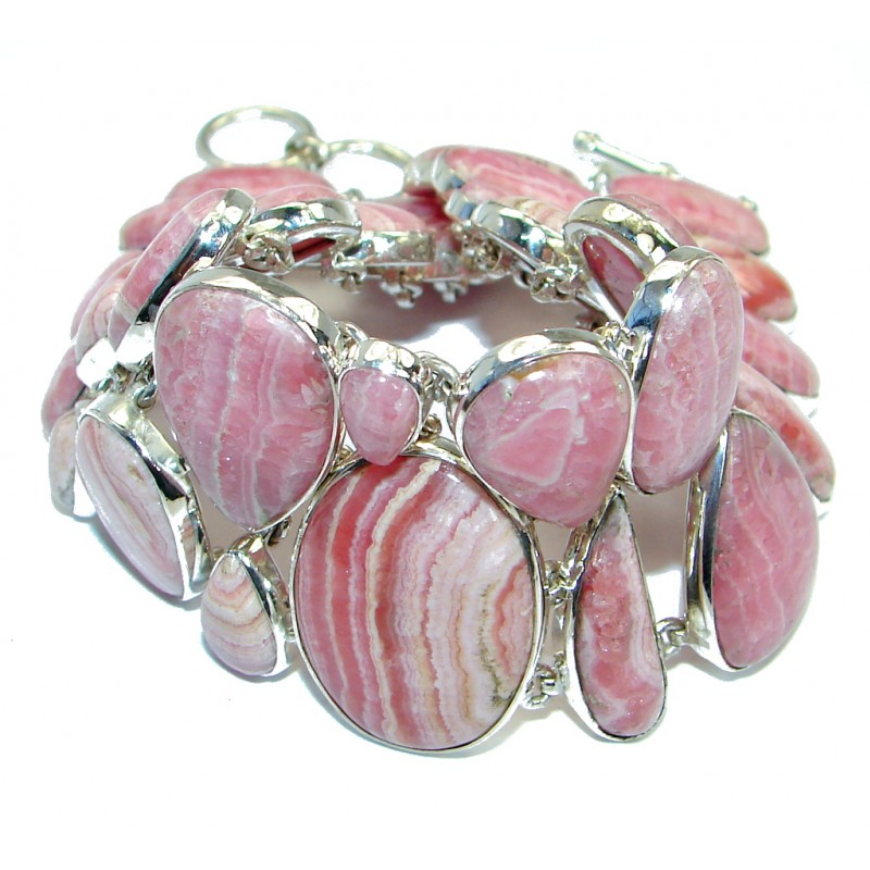 Large 90 grams Authentic Pink Rhodochrosite .925 Sterling Silver handmade Bracelet