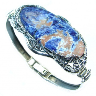 Huge Blue Galaxy genuine Sodalite handcrafted .925 Sterling Silver Bracelet
