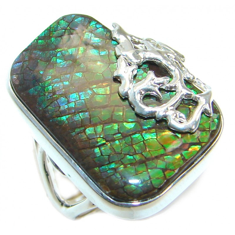 Fire Genuine Canadian Ammolite .925 Sterling Silver handmade ring size 7 adjustable