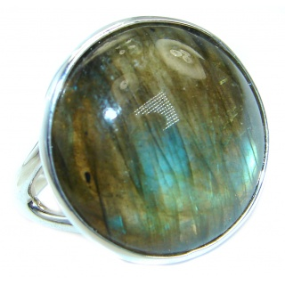 Blue Fire Labradorite .925 Sterling Silver handmade ring size 7