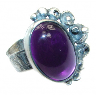 Vintage style Jumbo Unique Style Amethyst Sterling Silver ring; s. 8 adjustable