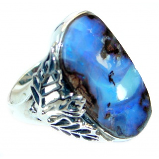 Classic Australian Boulder Opal .925 Sterling Silver handcrafted ring size 7