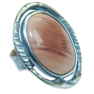Jumbo Imperial Jasper .925 Sterling Silver handcrafted ring s. 8 adjustable