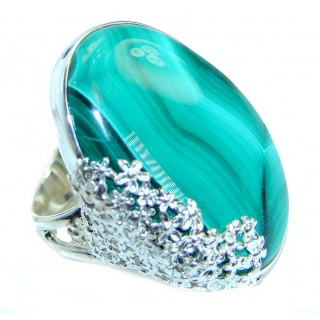 Genuine Malachite .925 Sterling Silver handcrafted Ring s. 8 adjustable