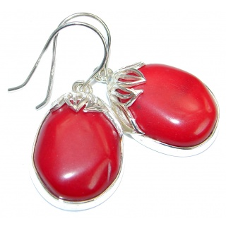 Genuine Red Fossilized Coral .925 Sterling Silver handmade earrings