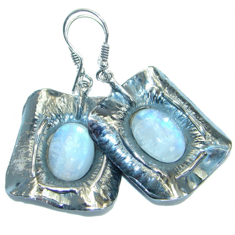 Back in Time Fire Moonstone oxidized .925 Sterling Silver handmade earrings