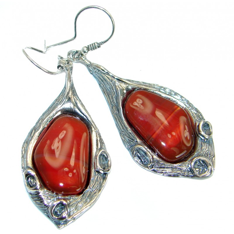 Long Botswana Agate oxidized .925Sterling Silver handmade earrings