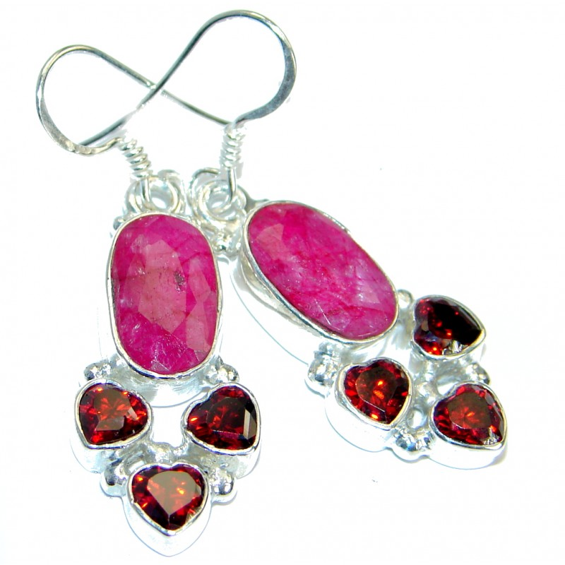 Trendy Ruby .925 Sterling Silver handmade earrings